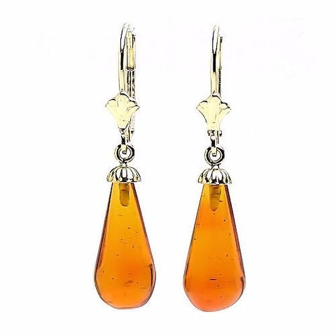 Trustmark 14-20 Gold Filled 16mm Natural Baltic Honey Amber Teardrop Lever Back Earrings, Anya