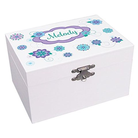 Personalized Teal Purple Florascope Ballerina Jewelry Box