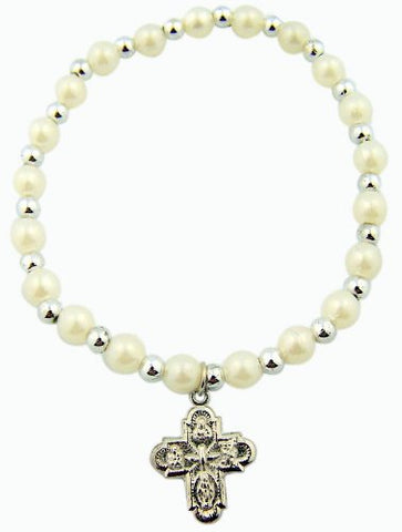 Girls First Communion White Simulated Faux Pearl Bead Stretch Bracelet with 4 Way Scapular Charm, 7 1/4 Inch