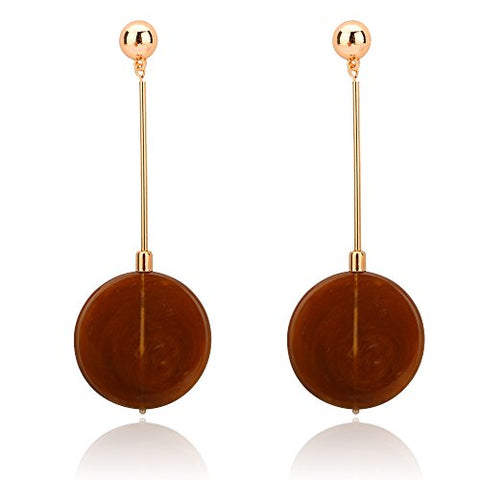 BEMI Trendy Gold Plated Alloy Small Long Resin Sheet Dangle Earrings for Woman Fashion Jewelry