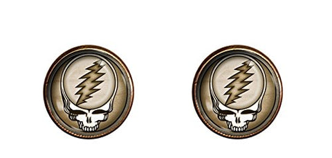 Grateful Dead Skull cuff links 16mm handmade Gold Colored jewelry gift charm