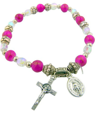 Womens Teens Religious Catholic Gift Pink Imitation Crystal Bead 7 Inch Stretch Bracelet with Miraculous Medal and Crucifix Charm