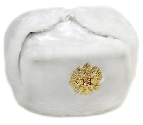 Russian Army KGB Cossack Military Fur Hat Ushanka w/Imperial Eagle Crest Badge WHITE L