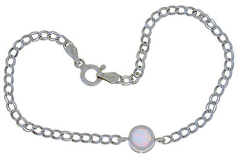 Simulated Opal Round Bezel Bracelet .925 Sterling Silver Rhodium Finish