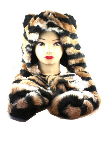 Tiger Stripes Furry Beanie with Hand Pockets - Faux Animal Fur Hat
