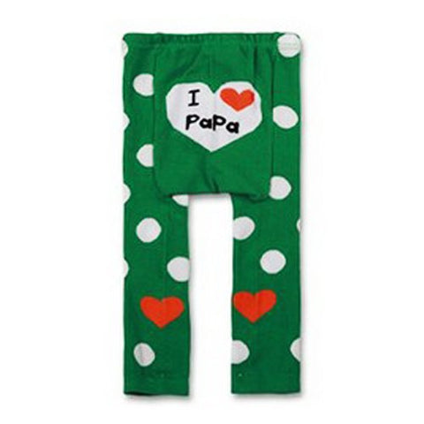 Wrapables Baby and Toddler Leggings, I Heart Papa Green, 6-12 Months
