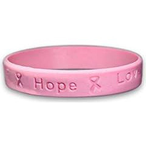 Breast Cancer Awareness Pink Ribbon Child Size Silicone Bracelet