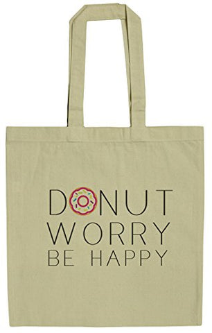 Donut Worry Be Happy Funny 15 Inch Canvas Tote Bag