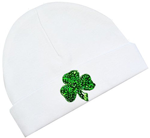 Sequin Shamrock Baby Beanie Hat (White)