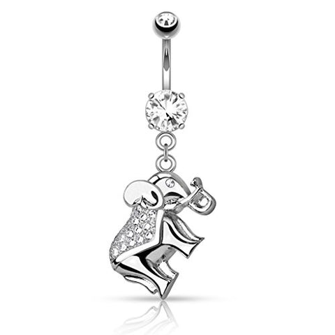 Belly Button Ring Navel CZ Paved Elephant Dangle 316L Surgical Steel