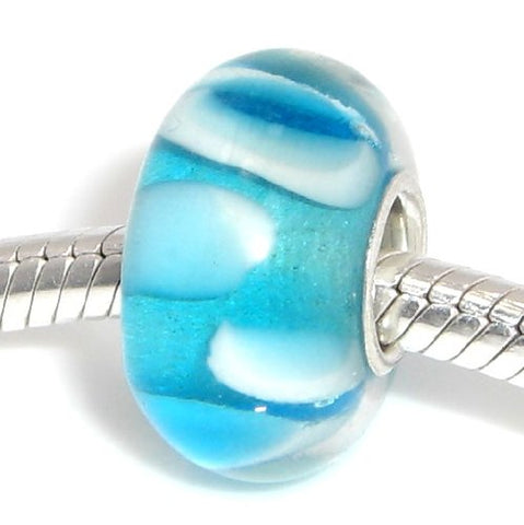 Jewelry Monster Single Silver Plated Core  Baby Blue w/ Teal & White Bubbles  Hand Crafted Translucent Murano Glass Charm Bead for Snake Chain Charm Bracelet