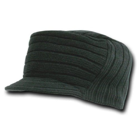 Decky Flat Top Knit Visor Beanie Jeep Ski Cap (One Size, Black)