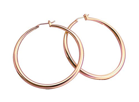 Top Click Closure Classic Rose Gold Fashion Crescent 60mm / 2.36  Big Hoop Earrings (LARGE)