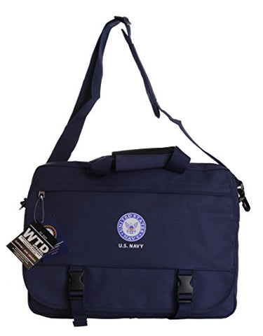 US Military Official Licensed Army Navy Air Force Laptop Messenger Bag (US Navy Blue)