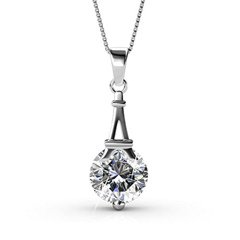 Cate & Chloe Isla 18k White Gold Swarovski Pendant Necklace, Best Silver Paris Eiffel Tower Necklace for Women, Girls, Ladies, Special-Occasion-Jewelry Round-Cut Swarovski Crystals 18  Chain Necklaces