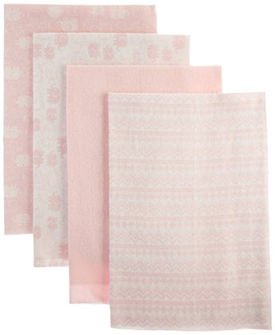 Nuby Cuddly Soft Baby 4 Piece Receiving Blanket Set, Elephant Print, Pink, 28  x 28