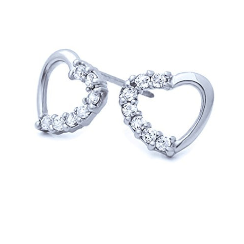 Sterling Silver Rhodium Plated Open Heart CZ Stud Screwback Earrings
