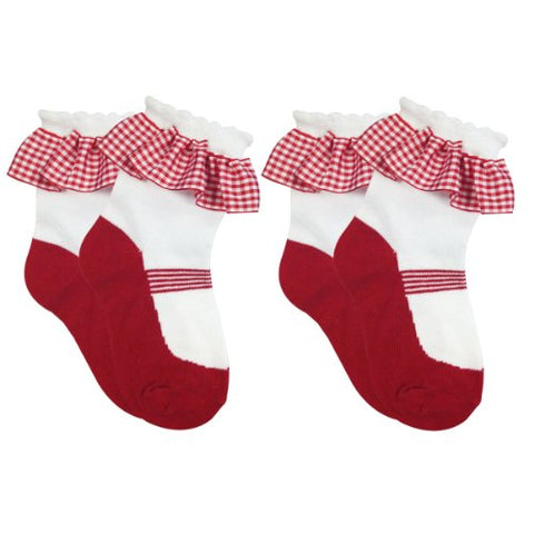 Wrapables Red Mary Jane Socks with Ruffle for Toddler Girl (Set of 2)