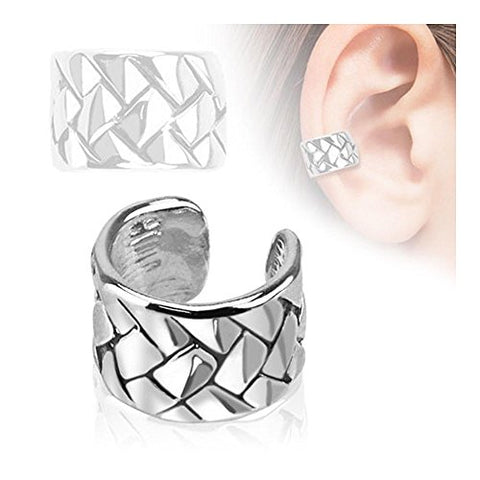 Weave Pattern Rhodium Plated Brass Non Piercing Ear Cuff (Sold Ind.)