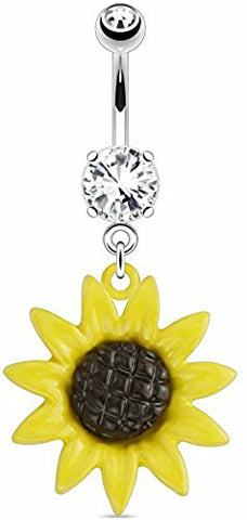 Belly Button Ring 316L Surgical Steel Metal Sunflower 316L Surgical Steel Navel Ring