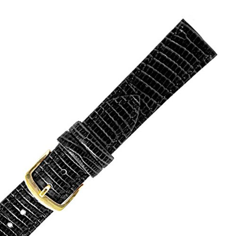 Hadley Roma MS716 17mm Black Stitched Lizard Grain Men's Strap Watch Band
