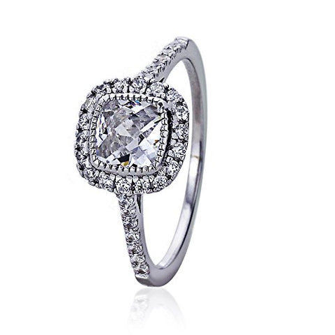 Rhodium Plated Sterling Silver Engagement Ring CZ Radian Cut Square Halo Ring - SZ: 5