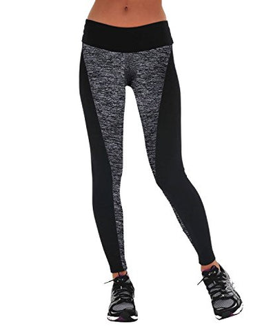Women's Strechy Yoga Running Pants Cotton Spandex Workout Leggings (X-large, Grey-Black)
