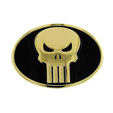 Marvel Comics Punisher Oval Black and Gold Belt Buckle