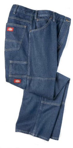 Dickies Occupational Workwear LD200RNB4232 LD200 Industrial Double Knee Jean, Fabric, 42  x 32  , Rinsed Indigo Blue