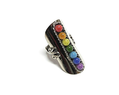 Beaded Chakra Silver Ring Multicolor