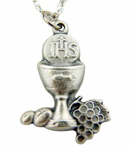 Catholic Boys Girls Holy First Communion Gift 1 1/8 Inch Silver IHS Chalice with Grapes and Wheat Pendant Charm with 18 Inch Link Chain and Deluxe Gift Box