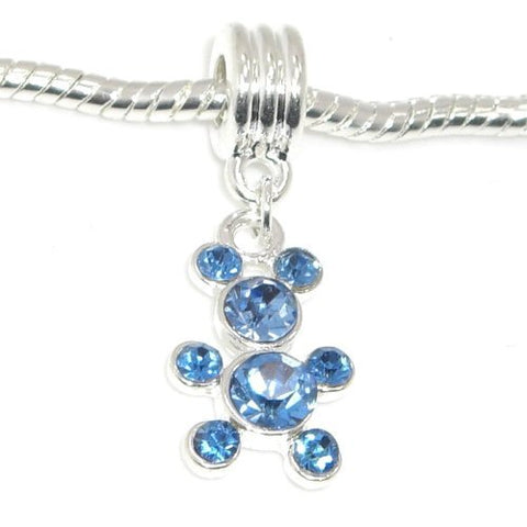 Jewelry Monster Silver Finish  Dangling Blue Rhinestone Teddy Bear  December Birthstone Charm Bead for Snake Chain Charm Bracelet