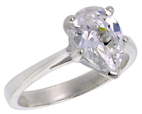 Sterling Silver 1 1/2 Carat Size Pear Cut Cubic Zirconia Solitaire Bridal Ring (Available in Sizes 6 to 10) size 7
