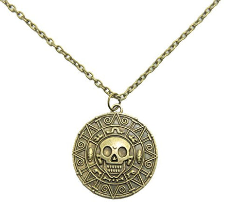 Inspired By Pirates of the Caribbean Movies Cursed Aztec Coin Medallion Necklace Skull Necklace New Version (antique brass color)