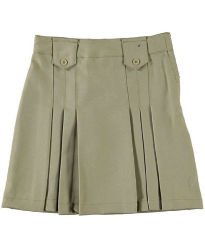 French Toast Front Pleated Skirt With Tabs - khaki, 16