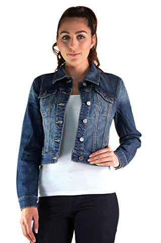 Standards & Practices Women's Stretch Denim Knit Long Sleeve Combo Cropped Jacket Size Medium