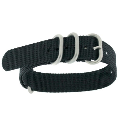 Watch Band Nylon One Piece Military Sport Strap Black Stainless Heavy Buckles 20 millimeter