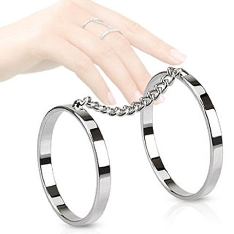 Chain Linked Rhodium Plated Brass Double Ring