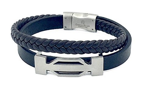 Giorgio Milano 1556ST23 Stainless Steel with Genuine Black Leather and Braided Brown Leather Bracelet