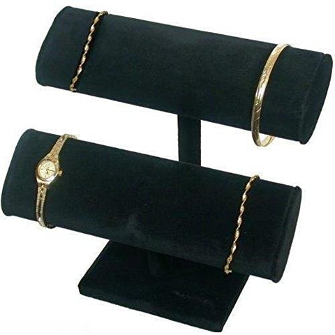 2 Tier Black Velvet T-Bar Bracelet Watch Jewelry Display Stand