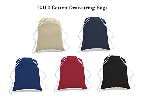 Bulk Price! Large Size 100% Cotton Drawstring Bag, Reusable Cinch Pack, Ideal for sports, gym, daily use, promotional bag (NAVY)