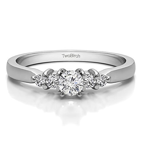 .36 ct. CZ Dainty Cluster Promise Ring in Silver (3/8 ct) (Sizes 3 to 15, 1/4 Size Intervals)