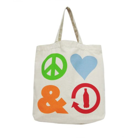 Officially Licensed Coca Cola Peace, Love and Recycle Tote Bag