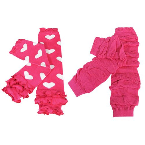 Wrapables Colorful Baby Leg Warmers (Set of 2) - Hearts & Ruched