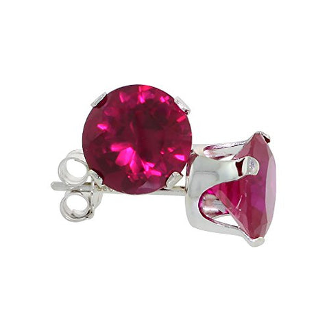 Sterling Silver Cubic Zirconia Ruby Earrings Studs 7 mm Red Color 2 1/2 carat/pair