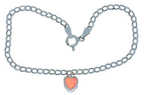 Simulated Pink Opal Heart Bezel Bracelet .925 Sterling Silver Rhodium Finish