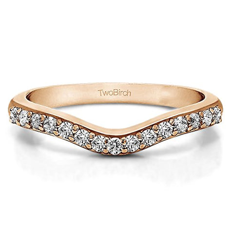 CZ Delicate Curved Wedding Ring In Rose Gold Sterling Silver(0.33Ct)Size 3 To 15 in 1/4 Size Interval