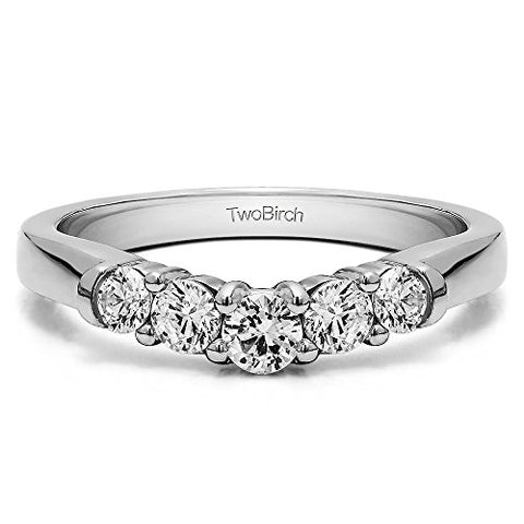 Cubic Zirconia Contoured Wedding Ring In Sterling Silver(1Ct)Size 3 To 15 in 1/4 Size Interval