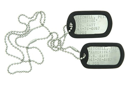 Top Gun Pete Mitchell  Maverick  Stainless Steel Military Dog Tag Set