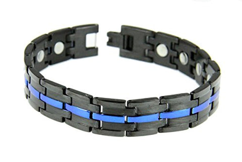 4031724 Stainless Steel Thin Blue Line Magnetic Bracelet Police Law Enforcement Trooper Officer